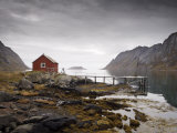 Rorbu and Jetty on Fjord, Lofoten Islands, Norway, Scandinavia, Europe Photographic Print by  Purcell-Holmes