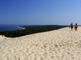 Couple Walking on the Dunes Du Pyla, Bay of Arcachon, Cote D'Argent, Aquitaine, France, Europe Photographic Print by Peter Richardson