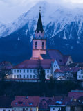 St. Cantianus Church in the Foreground and the Kamnik Alps Behind, Kranj, Slovenia, Europe Photographic Print by John Woodworth