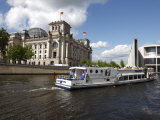 Tour Boat on River Cruise on the Spree River Passing the Reichstag, Berlin, Germany Photographic Print by Dallas & John Heaton