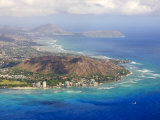 Aerial of Honolulu and Diamond Head, Oahu, Hawaii Photographic Print by Michael DeFreitas