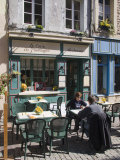 Terrace Tables Outside the Many Cafes and Restaurants on Rue De Lille in Old Quarter of Boulogne Photographic Print by Hazel Stuart