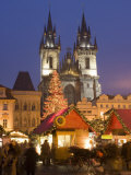 Christmas Market at Staromestske with Gothic Tyn Cathedral, Stare Mesto Photographic Print by Richard Nebesky