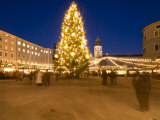 Christmas Tree and Stalls of Historical Salzburg Christkindlmarkt Photographic Print by Richard Nebesky