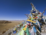 Prayer Flags and Sacred Site Overlooking Bayanbulak, Xinjiang Province, China, Asia Photographic Print by Christian Kober