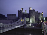 Telford Suspension Bridge at Dusk, Crossing the River Conwy, Leading to Conwy Castle, Gwynedd Photographic Print by Nigel Blythe