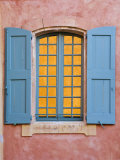 Close-Up Detail of Windows in Colourful Buildings in Town Centre, Roussillon, Provence Photographic Print by Guy Edwardes