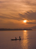 Fishermen at Sunset on the Amazon River, Brazil, South America Photographic Print by Nico Tondini