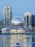 Telus Science World and a Boat on False Creek, Vancouver, British Columbia, Canada, North America Photographic Print by Christian Kober