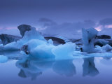 Icebergs in Jokulsarlon Glacial Lagoon, at Dusk, East Iceland, Iceland, Polar Regions Photographic Print by Patrick Dieudonne