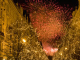 Christmas Lights Along Parizska Street and New Years Day Fireworks Photographic Print by Richard Nebesky