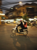 Couple on Moped Carrying Floral Display, Hanoi, Vietnam, Indochina, Southeast Asia, Asia Photographic Print by  Purcell-Holmes