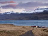 Red-Roofed House and Snow-Capped Mountains in Reydarfjordur Fjord, East Fjords Photographic Print by Patrick Dieudonne