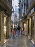 Illuminated Window Displays in Small Street, San Marco, Venice, Veneto, Italy, Europe Photographic Print by Hazel Stuart