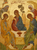 Melkite Icon of Abraham's Trinity, Nazareth, Galilee, Israel, Middle East Fotografisk tryk af  Godong