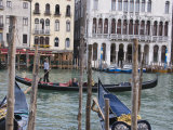 Gondola Passing Moorings at Riva Del Vin on the Grand Canal, Rialto, Venice, Veneto Photographic Print by Hazel Stuart