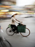 Lady on Bicycle with Shopping, Hanoi, Vietnam, Indochina, Southeast Asia, Asia Photographic Print by  Purcell-Holmes