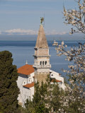View from a Hill Overlooking the Old Town of Piran and St. George Church, Piran, Slovenvia Photographic Print by John Woodworth