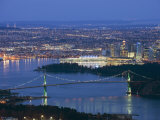 Night View of City Skyline and Lions Gate Bridge, from Cypress Provincial Park, Vancouver Photographic Print by Christian Kober