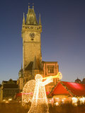 Christmas Market at Staromestske with Gothic Old Town Hall, Stare Mesto Photographic Print by Richard Nebesky