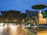 Qintai Street Statue and Chinese Gate, Chengdu, Sichuan Province, China, Asia Photographic Print by Christian Kober