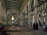 Interior of Omayad Mosque in the Old City, Damascus, Syria, Middle East Photographic Print by Nigel Blythe