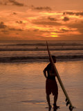 Surfer at Sunset, Kuta Beach, Bali, Indonesia, Southeast Asia, Asia Photographic Print by Richard Maschmeyer