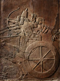 King Ashurbanipal on his Chariot, Assyrian Reliefwork, from Palace at Nineveh, 650 BC Photographie