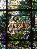 Stained Glass of Adam and Eve in the Garden of Eden, Vienna, Austria, Europe Photographic Print by  Godong