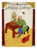 Scholar Studying the Workings of a Clock, Ottoman Manuscript, 17th century Giclee Print