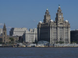 View of the Liverpool Skyline and the Liver Building, from the Mersey Ferry Photographic Print by Ethel Davies