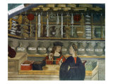 Detail Pharmacy or Chemist Measuring with Scales, 15th century Italian Gothic Fresco Giclee Print