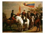 Simn Bolr Presenting Flag of Liberation after Battle of Carabobo, 24 June 1821 Giclee Print by Arturo Michelena