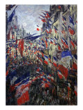 Rue St Denis in Paris During Patriotic Festival of June 30, 1878 Giclee Print by Claude Monet