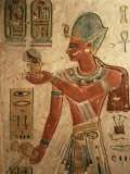 The King, Ramesses III, Wearing the Blue Crown and Making an Offering Photographic Print