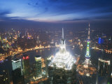 Jinmao and Pearl Towers and Pudong Skyline, Shanghai, China, Asia Photographic Print by Christian Kober