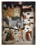 January or Aquarius with Courtiers in Snowball Fight Outside Stenico Castle, c.1400 Giclee Print by  Venceslao