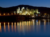 Conwy Castle and Town at Dusk, Conwy, Wales, United Kingdom, Europe Photographic Print by John Woodworth