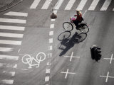 Girl on Bicycle at Crossroads, Copenhagen, Denmark, Scandinavia, Europe Photographic Print by  Purcell-Holmes