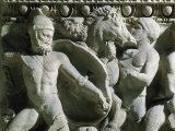 Battle between Greeks and Romans, from Roman Sarcophagus from Athens, 2nd century BC Photographic Print