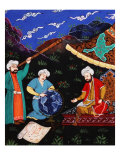 Astronomers and Geographers in a Mountainous Country, Ottoman Miniature, 17th century Reproduction procédé giclée