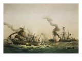 Naval Engagement Between the U.S.S. Kearsarge and the Confederate sea raider Alabama Giclee Print by Lt-Col Lebreton
