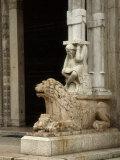 Lion Supporting Telamon, Main Portal Duomo Ferrara, by Maestro Nicolo, Romanesque Photographic Print