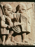 Two Legionaries During Battle, Relief from Base of Column Found at Magonza Photographic Print