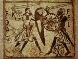 Crusader and Moor in Combat, Mosaic, 12th century Romanesque Photographic Print