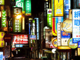 Neon Signs at Night, Taipei, Taiwan, Asia Photographic Print by Charles Bowman