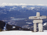 Inuit Inukshuk Stone Statue, Whistler Mountain Resort Photographic Print by Christian Kober