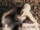Body of Man Petrified by Ash from Eruption of Vesuvius in 79 AD, Pompeii, Italy Photographic Print