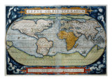 World from Atlas by Abraham Ortelius Theatrum Giclee Print
