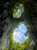 Two Openings in the Roof of the Zelske Jame Cave System in Skocjan Karst Gorge, Rakov Skocjan Photographic Print by Guy Edwardes